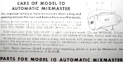 Mixmaster Model 10 Maintenance Manual (Download)