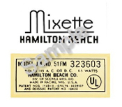 Hamilton Beach Mixette Replacement Decals
