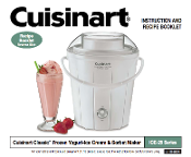 Cuisinart ICE-25 Frozen Yogurt & Ice Crm Manual (Download)