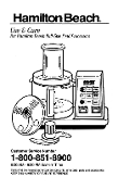Hamilton Beach Model 702R Food Processor Manual Download