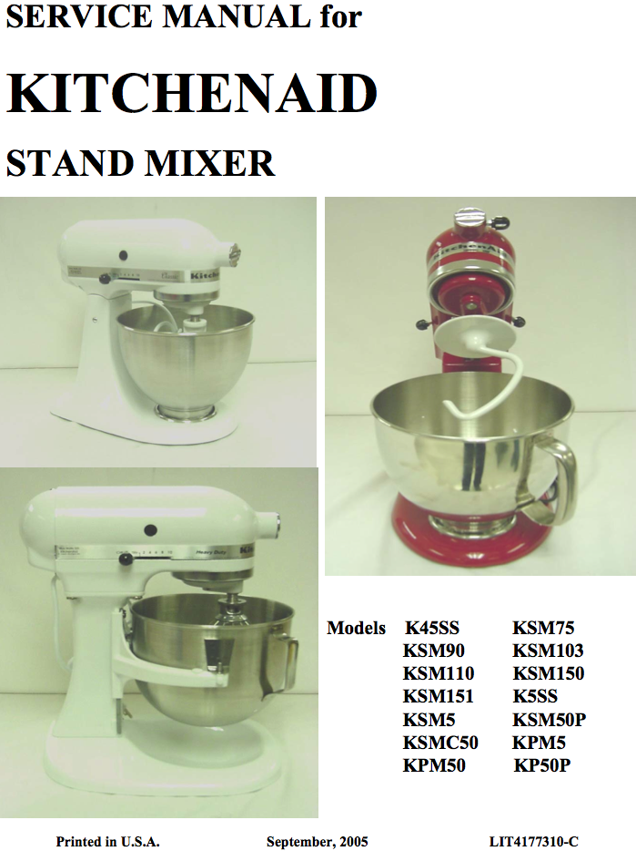 kitchenaid multi model color service repair manual download rh nelsonezy com KitchenAid Mixer K5SS Manual KitchenAid Mixer Manual PDF
